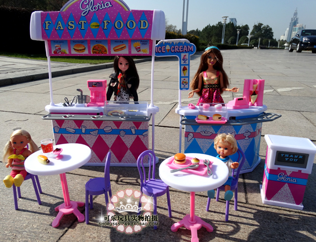 Girl Birthday Gift For Barbie Doll House Furniture Kitchen Burger Fast Food Restaurant Baby Diy Toys
