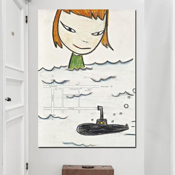 Yoshitomo Nara Cartoon HD Print Canvas Art Pictures Sleepwalking Doll Drawing Japanese Painting Poster For Baby Kids Room Decor image