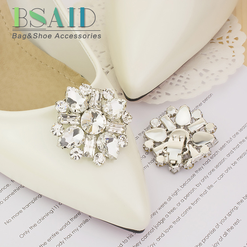 BSAID Crystal Shoes Accessories Shoe Clips 1 Pcs / 2 Pcs Rhinestone Shoe Decorations For Heels Shoes Bag Clothes Clamp Ornament