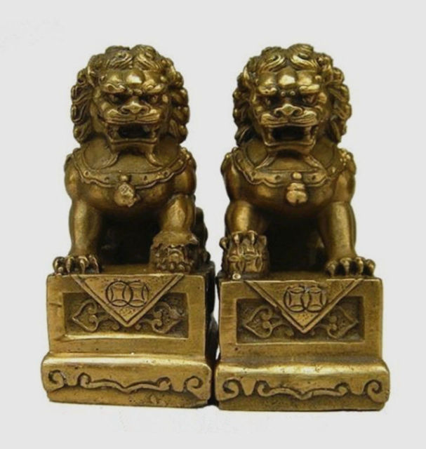 Chinese Old China Chinese Brass Folk  Foo Dog Guardion Door Lion Statue Pair Figure Decoration  Factory Outlets