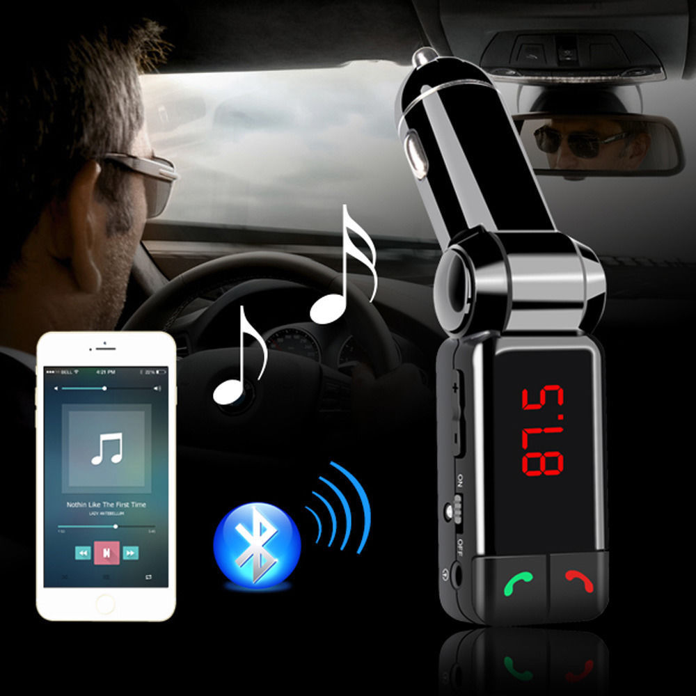 BC06 Auto MP3 Player Bluetooth FM ötürücü Simsiz FM Modulyatoru Avtomobil dəsti HandsFree LCD displey iPhone Samsung üçün USB şarj cihazı