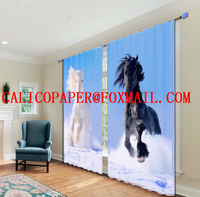 3d mesh fabric knitting for clothing The seaside scenery printed 3 d digital curtain fabrics
