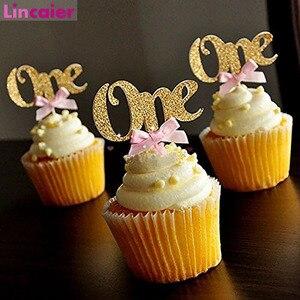 Image 1 - 6/10 Pcs גליטר נייר אחד Cupcake Toppers ראשון מסיבת יום הולדת קישוטי 1st יום הולדת שלי 1 שנה תינוק ילד ילדה וגינה