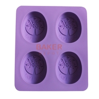 DIY Handmade Soap Mould New Four Lattices Silicone Mold Oval Olive Tree Design Silicone Cake Mould