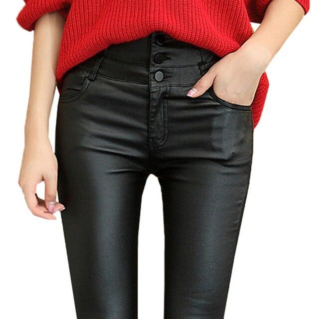 2016 Сгущает Зимний PU Кожаные женские брюки высокая талия упругие руно стретч Тонкий женщины карандаш брюки узкие брюки CK11