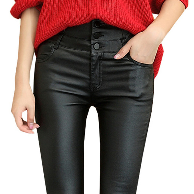 2016 Thicken Winter PU Leather women pants high waist elastic fleece stretch Slim woman pencil pants skinny trousers CK11