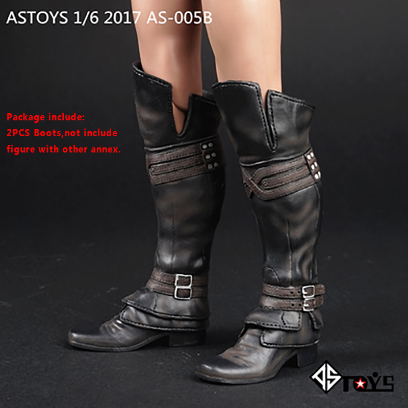 Black 1/6 Scale Soldier Assassin's Creed Long High Tube Boots shoes Model with feet not HT Fit 12 Inch Phicen Action Figure Doll professional 7005 aluminum alloy tube clap long track ice blade 64hrc high quality dislocation skate shoes knife 1 1mm frame