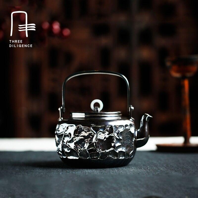 Старинное серебро чайник Японии все стороны десятка нефрит кольцо молоток глаз sycee чайник жадеит кипятить чай горшок смягчения воды