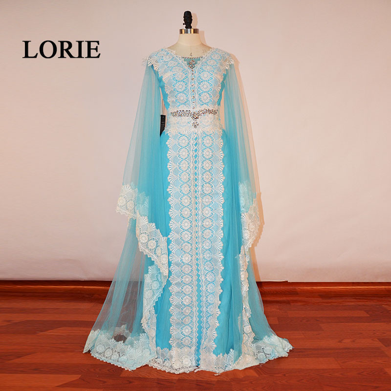 LORIE Moroccan Kaftan Arabic V Neck A Line Floor Length Long Sleeve Appliqued with Lace Evening
