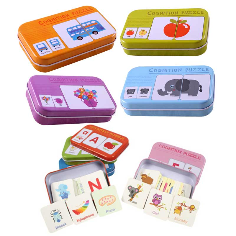 Kids Montessori Educativos Fun English Word Pocket Flash Card Baby Learning Educational English Table Game Puzzle Match Jigsaw