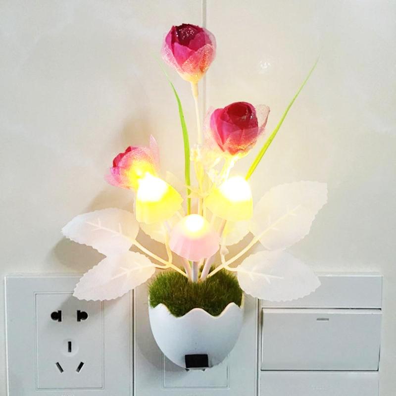 Smart LED Night Light Auto Sensor Control Lamp For Children Baby Room Decor US Plug Rose Flowers Plant Mushroom LED Lights Lamps