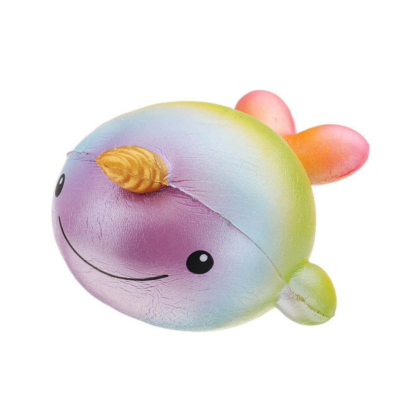 Purple Rainbow Narwhal 13.5cm Slow Rising With Packaging Collection Gift Decoration Kids Children Funny