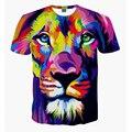 2016 Nuevas Llegadas 3d hombres Camiseta de la Manera Lion Justin Bieber Graphic Print Cat Anime de Una Pieza Del Cráneo de La Camiseta Unisex ropa