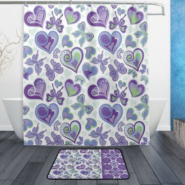 Happy Valentines Day Shower Curtain And Mat Set Purple Love Heart Butterfly Waterproof Fabric Bathroom