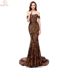 Evening Dresses Long 2019 Gold Champagne Sequined Bling Off Shoulder Scalloped Neck Mermaid Sexy Prom Gowns Formal Party Real