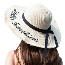2019 Chapeau Femme Ete Sun Hat Bow-knot Wide Brim Sunscreen Sombrero Mujer Breathable All-match Letter Printed Sun Hat all sun
