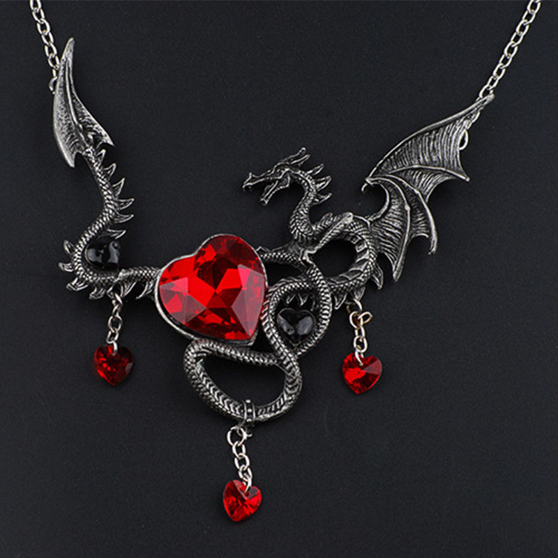 Sale 1Pc Red/Blue Crystal Dragon Heart Women Unisex Classic Sweater Chain Pendant Necklace Fashion Jewelry