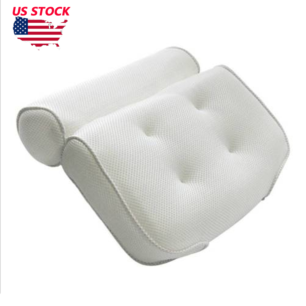 US Bath Spa Pillow Relaxing Massage with 4 Big suction Cups for Bathtub Hot Tub