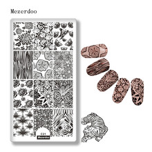 цены Tiger Nail Art Stamp Template  Flower Butterfly Nail Stencil Tree Patterns  Manicure Art Image Plate Nail Art Decorations  C21
