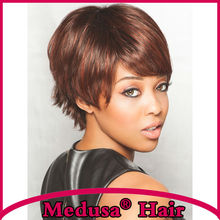 Medusa hair products: Modern Synthetic pastel wigs Short pixie cut styles straight Mix color wig with bangs Peruca curta SW0283C