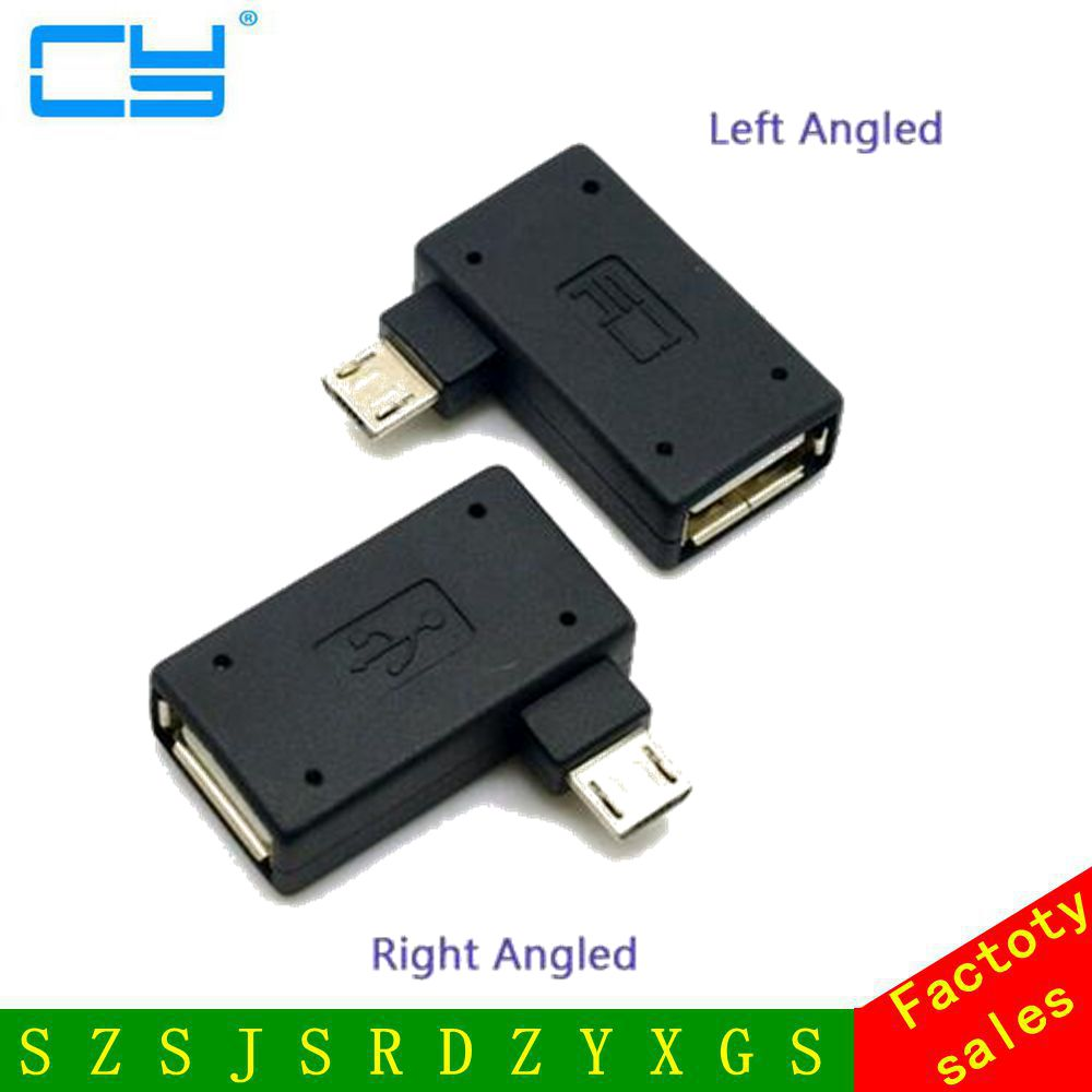 2pcs 90 Degree Ultra Flat Left & Right Angled Micro USB 2.0 OTG Host Adapter Connector Adaptor for Cell Phone & Tablet