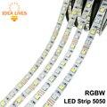 Tira CONDUZIDA 5050 RGBW À Prova D' Água DC12V Flexível do DIODO EMISSOR de Luz RGB + Branco/RGB + Branco Quente 60 LED/m 5 m/lote.