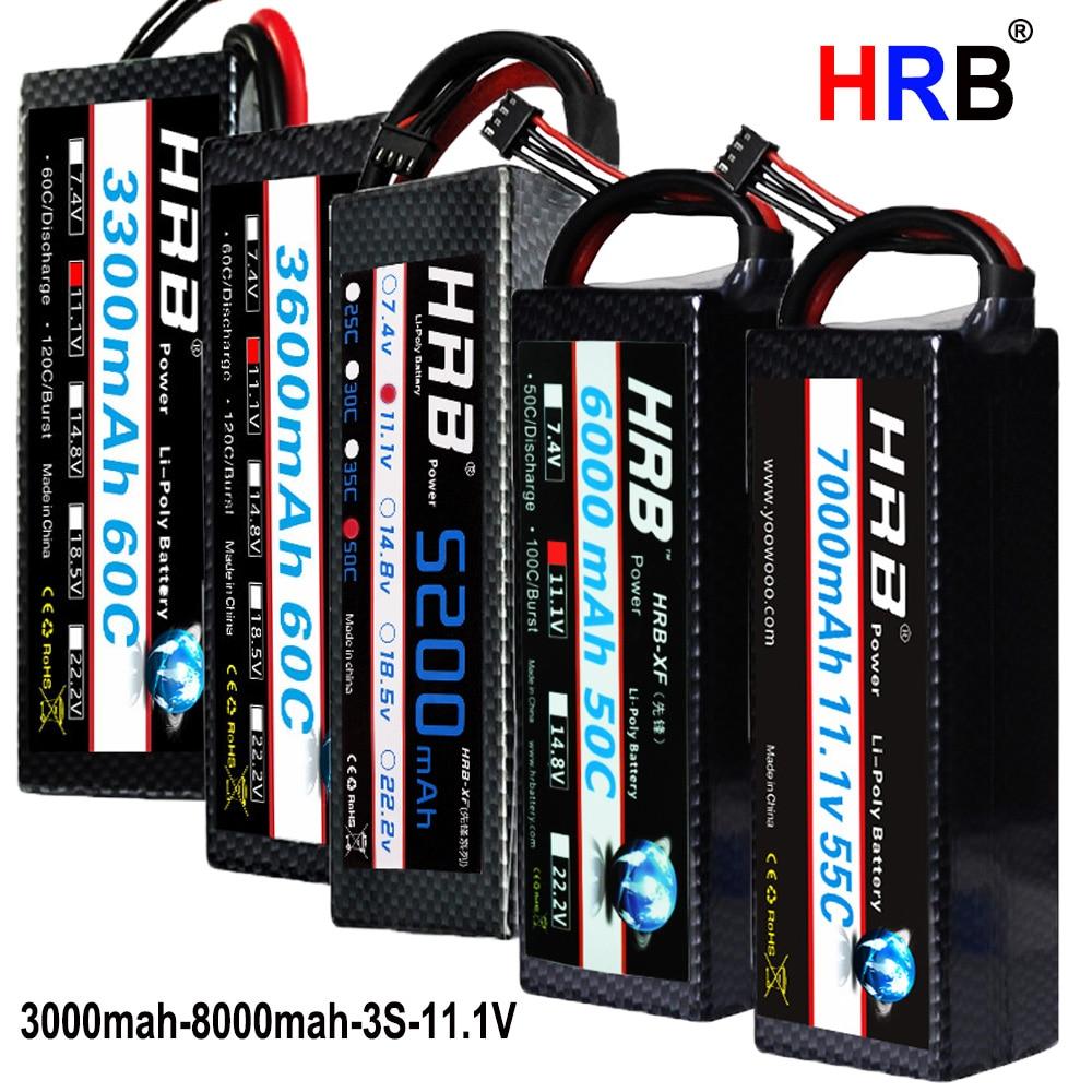 HRB Lipo Battery 3S 11 1V 3000mah 3300mah 3600mah 4000mah 4200mah 5200mah  6000mah 7000mah 8000mah 50C 60C 55C 100C For 1/10 1/8
