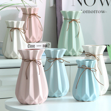 Simple Nordic style diamond inspiration fold vase Creative ceramic  dried flowers ornaments flower for home decor