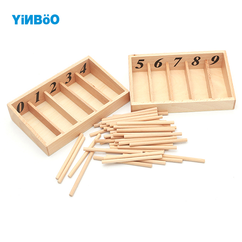 Montessori Educational Wooden Toys For Children Spindle Box With 45 Spindles Mathematics Learning and Spindle Rod Family Version