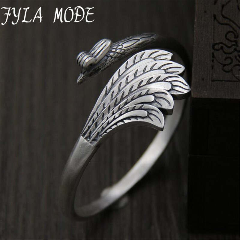 Phoenix Carved Auspicious Bangle 100% Real S999 Sterling Silver Bracelet Bangle For Men Women Fine Jewelry 27mm 30.50G TYC086 s999 sterling silver carved peony flower bracelet silver pendant bracelet for women