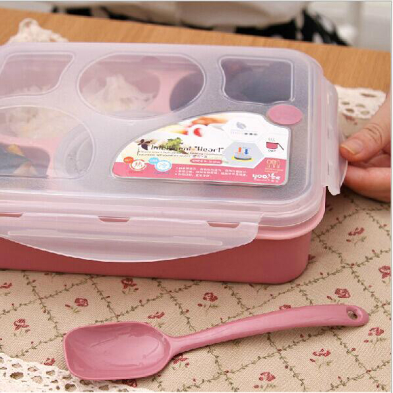 Hot Sale 5 1 Food Container Storage Box Single Children Lunch Box With Spoon Portable Microwave