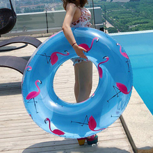 107CM Giant Flamingo/Pineapple Print Swimming Ring Women Adult Inflatable Pool Float Summer Water Toys Air Mattress Boia Piscina 60cm giant rainbow watermelon swimming ring for adult children summer inflatable pool float water toys piscina