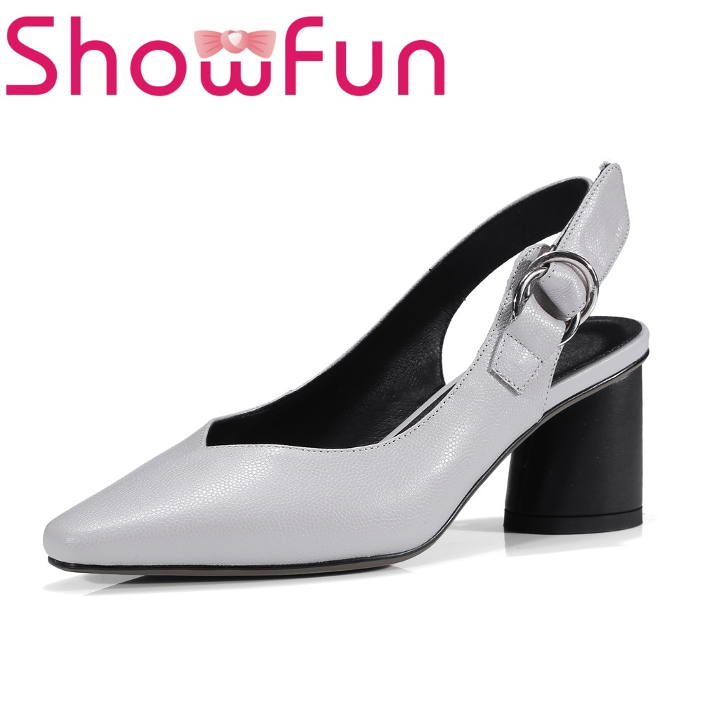 Showfun genuine leather office&career fashion solid buckle back strap round heel sandals woman shoes showfun 2018 genuine leather retro faux