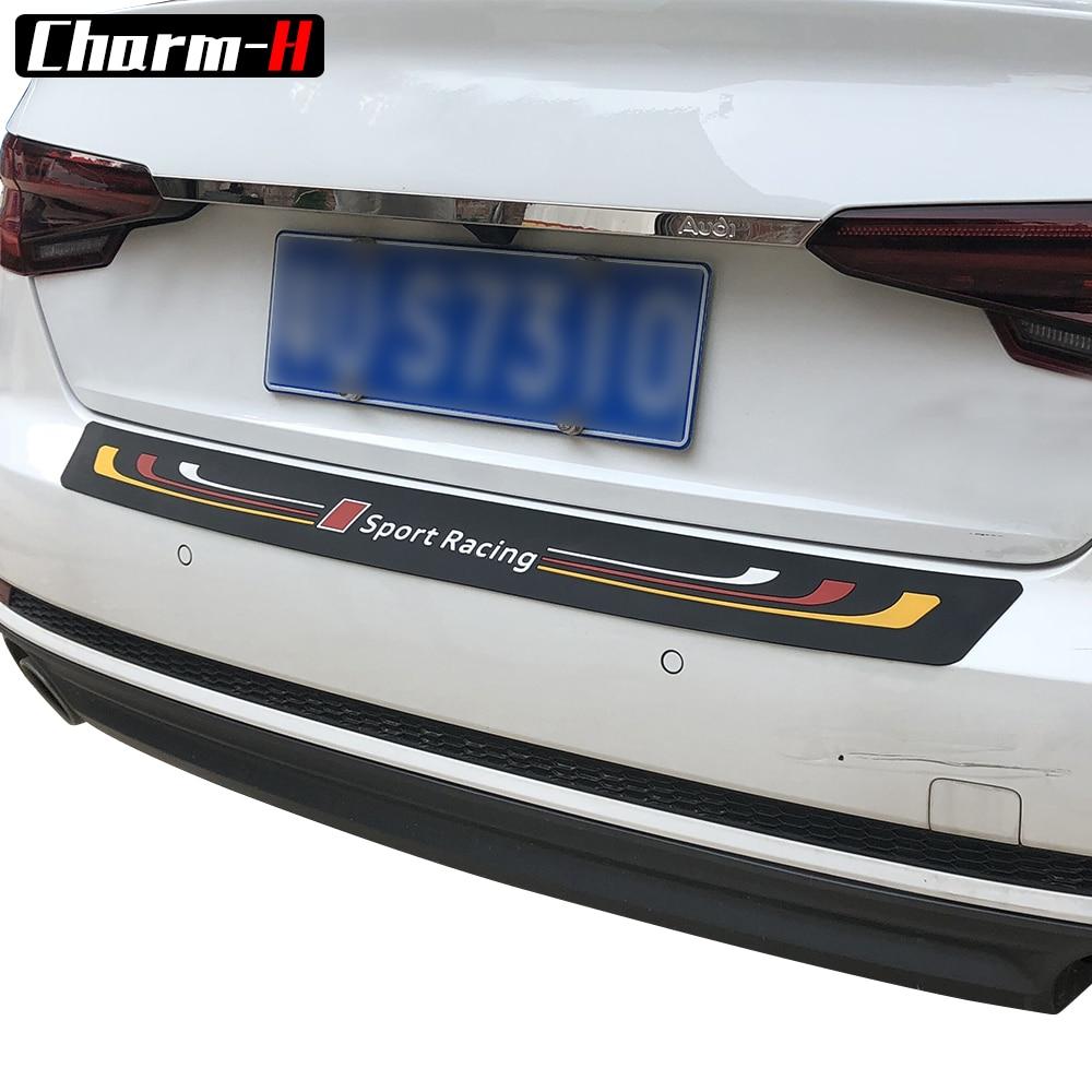 Car Styling Sport Racing Soft Rubber Rear Bumper Trim Guard Plate Protector Sticker For audi a3 a4 a5 a6 q3 q5 q7 Accessories