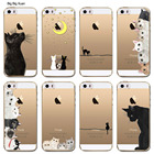 Ultra thin New Funny Cat Printed Covers For Apple Iphone 5 5S SE Clear TPU Fashion SiliconCapa Para Bags For IPhone 5SE Cases