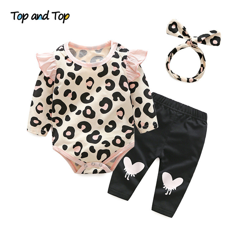 Top and Top Baby Girls Clothes Set 2018 Autumn Newborn Baby Girl Clothing Leopard Print Rompers Headband Pants 3PCS Outfits Set slogan print top