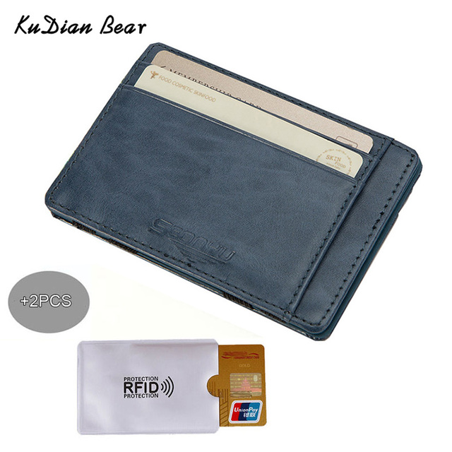 buy online 73233 f23d0 US $3.42 20% OFF|KUDIAN BEAR Slim Wallets PU Leather Men Magic Wallet Rfid  Card Holder Mini Wallets Card Holders Carteira BID142 PM20-in Wallets from  ...