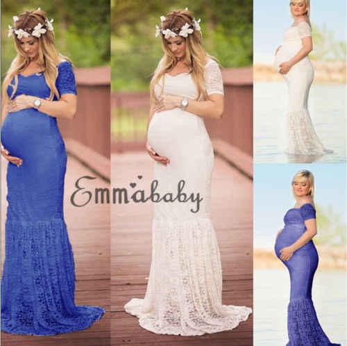 a6a9abf94 2018 nuevas Mujeres Embarazadas Fotografía vestido de maternidad Maxi partido  vestidos de manga corta vestido de
