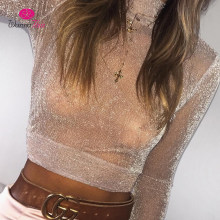 WannaThis2017 Sexy Shining Tops Women Turtleneck Long Sleeve Crop Top See Through Bling Mesh Tees Solid Pink Black Shirt Females(China)