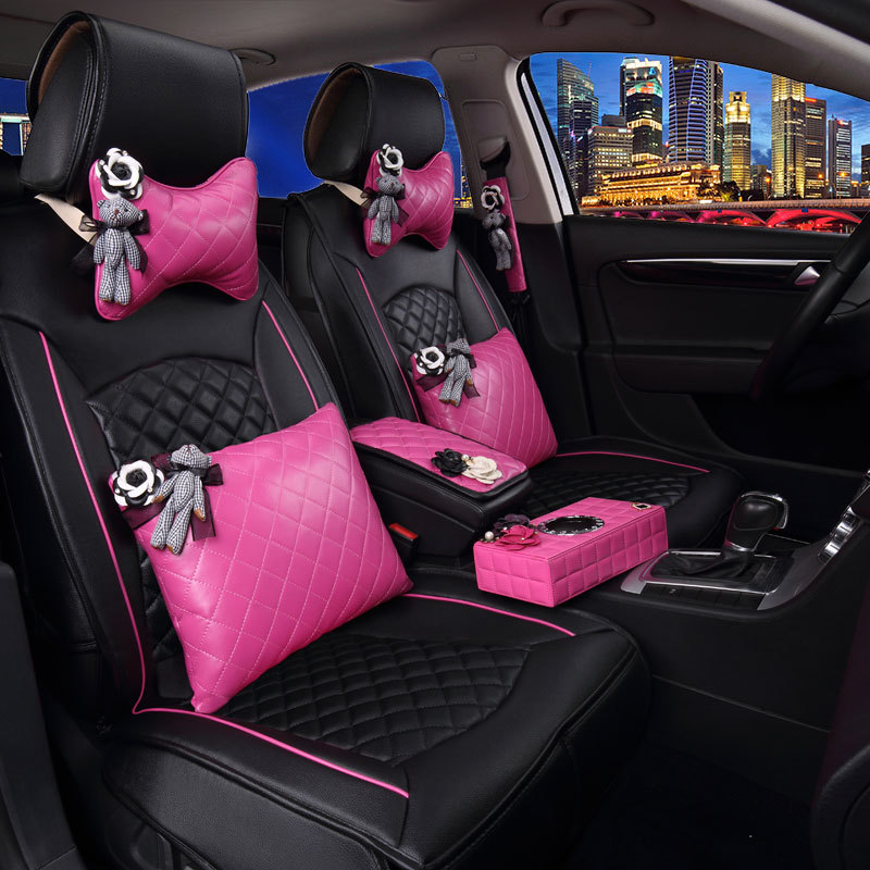 Girl S Woman S Cute Brand Fashion Pu Leather Pink Universal Car Seat Cover Set Car Seat Cover Set Seat Cover Setcar Seat Cover Aliexpress