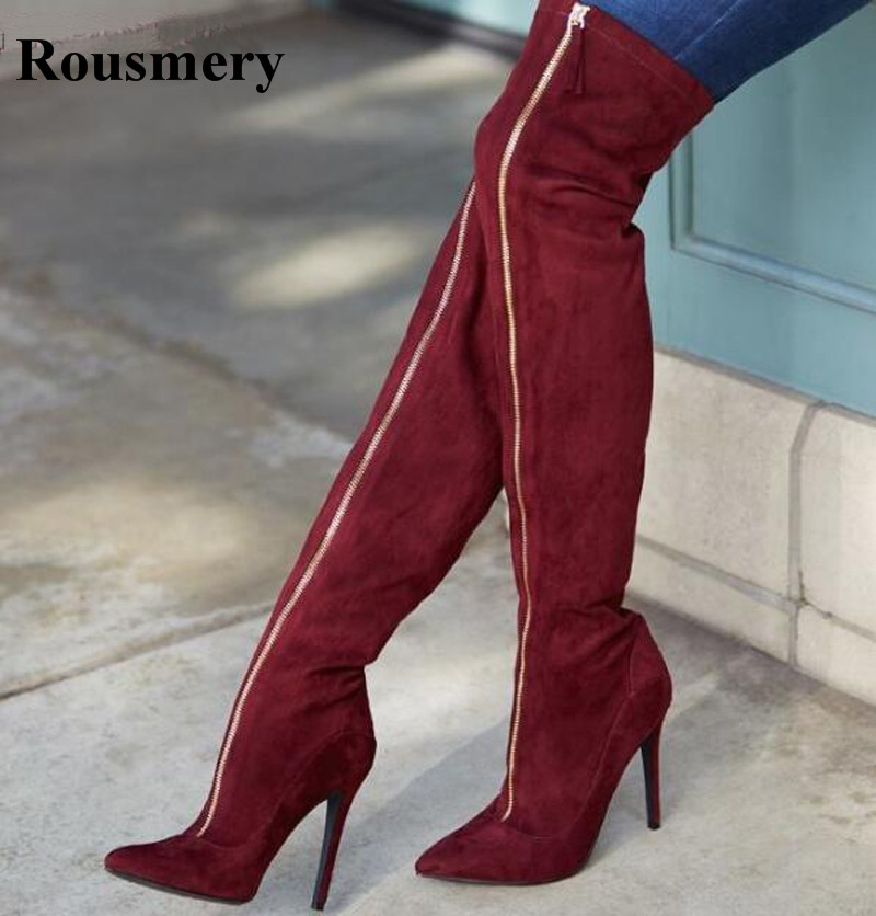 New Fashion Women Front Zipper Red Suede Leather Over Knee High Heel Boots Pointed Toe Thigh Heel Long High Heel Boots цена 2017