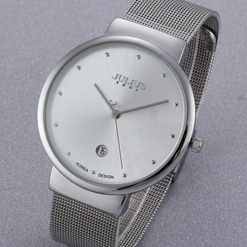 แบรนด์ Julius ชายนาฬิกาควอตซ์ผู้ชายนาฬิกาข้อมือนาฬิกา Thin Dial Luxury Relogio Masculino