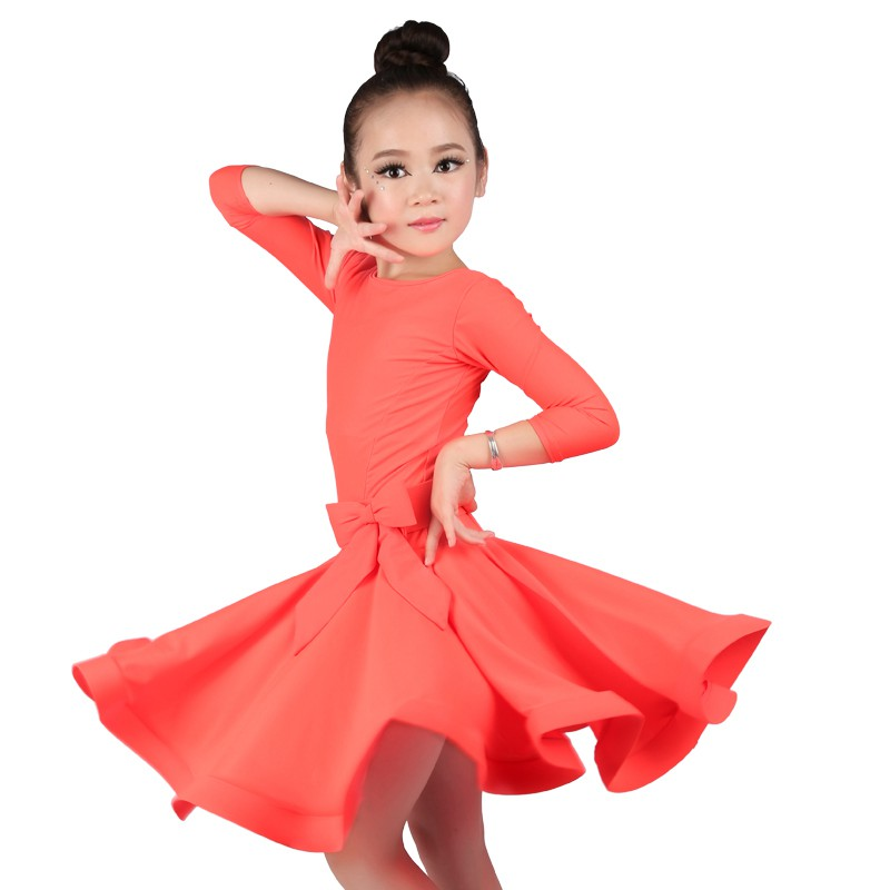 Girls Latin Ballroom Dress Candy Color Junior Latin Dance Clothes Red Flamenco Dance Costumes