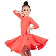 Kızlar balo salonu dans elbiseleri genç Latin elbise diz boyu flamenko dans kostümleri