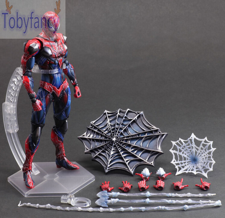 Spiderman Action Figure Play Arts Kai Spider Man 250MM Anime Model Toys Superhero Playarts Spider-Man T tobyfancy blue spider man action figure play arts kai collection model anime toys amazing spiderman pa kai spider man