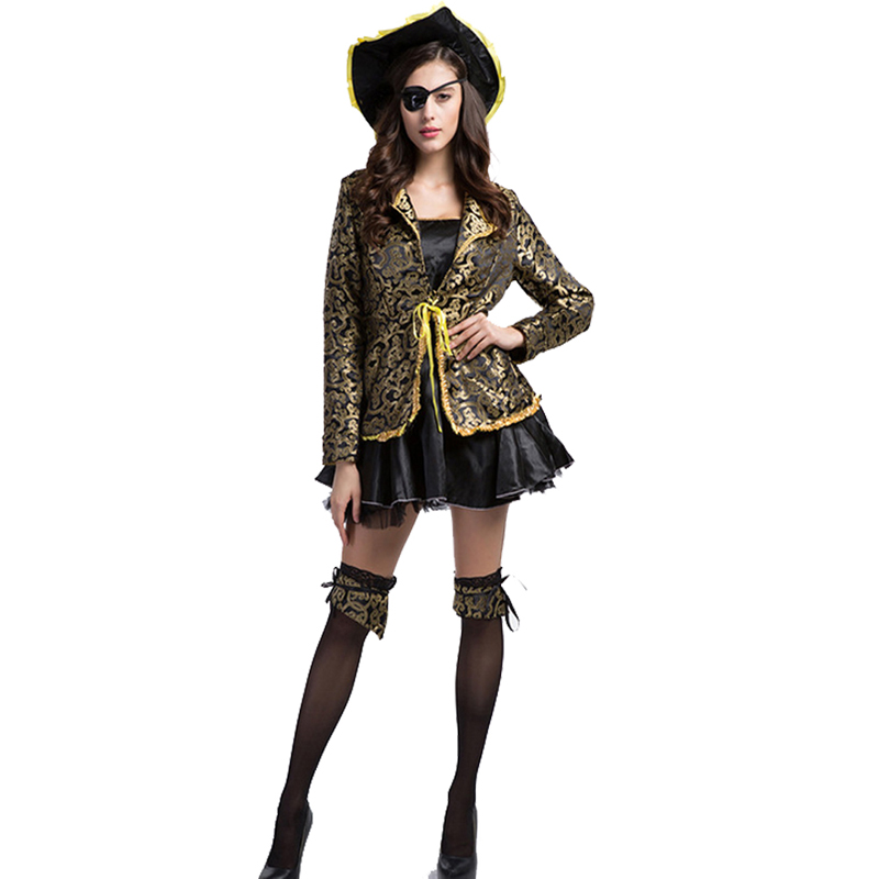 4c85255f92 Women Deluxe Gold Trim Black Halloween Pirate Captain Cosplay Costume Fancy  Dress Sexy Caribbean Adventurer Clothing