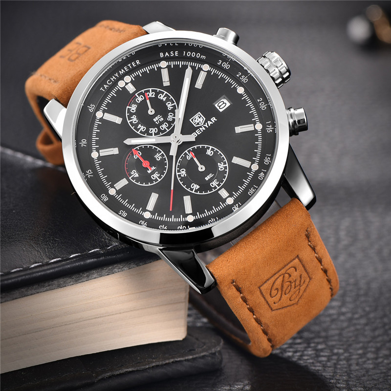 Image 2 - Relogio Masculino BENYAR Watches Mens Top Luxury Brand Chronograph Sport Man Watch Military Leather Clock Quartz Wristwatch 5102-in Quartz Watches from Watches