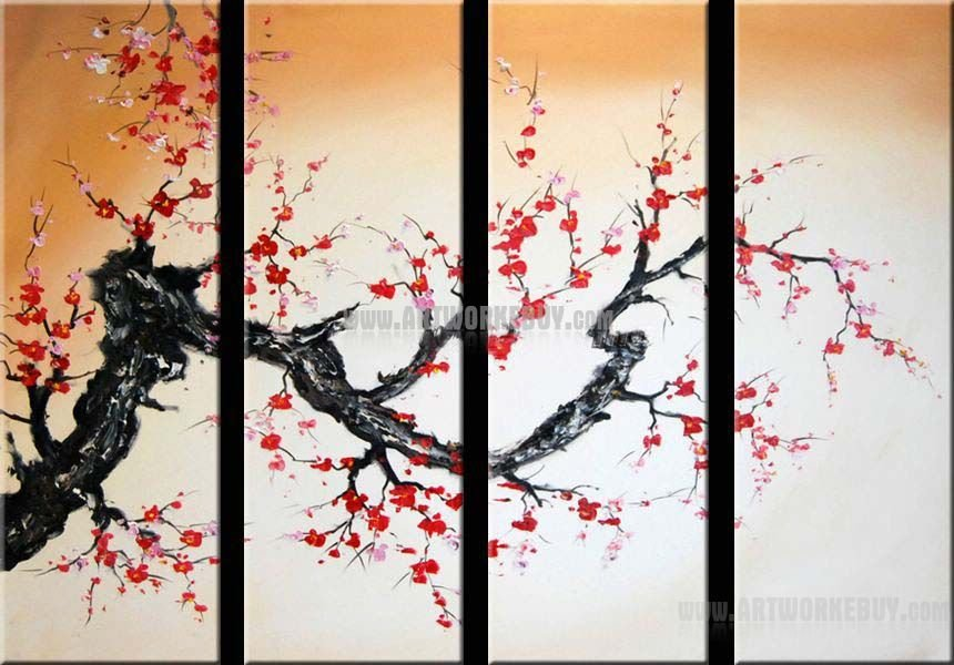 Modern oil painting cherry blossom abstract art canvas for Canvas painting of cherry blossoms