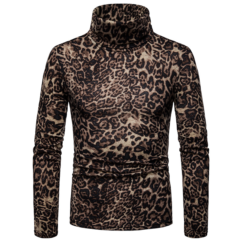 Pullover Sweater Turtleneck Autumn Mens Casual New Leopard Bottoming High-Colalr