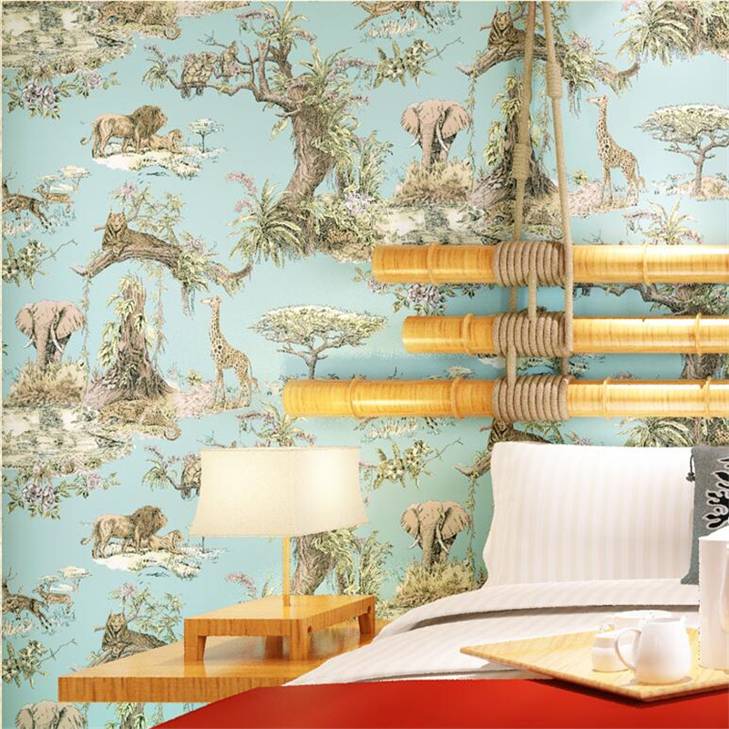 Beibehang papier peint de parede style asie du sud-est éléphant girafe salon chambre chevet fond d'écran
